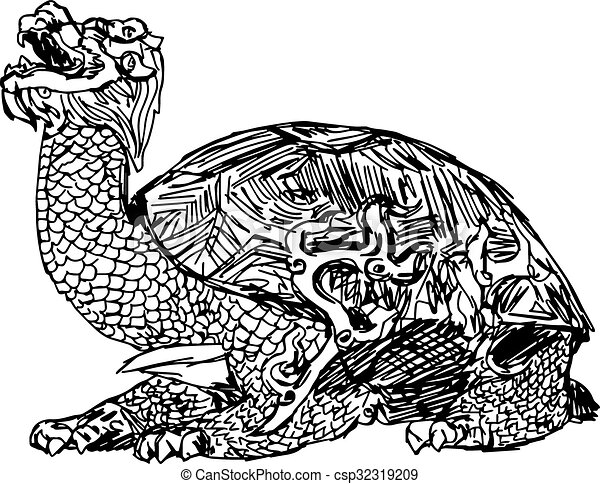 Illustration Vector Doodle Hand Drawn Of Sketch Bronze Statue A Turtle In Forbidden City China