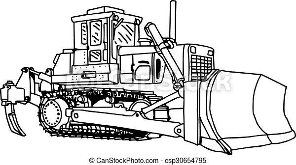 illustration vector doodles hand drawn loader bulldozer excavator machine isolated. - csp30654795