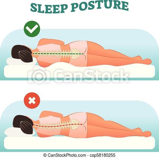 Postura correcta y saludable para dormir para tu cuello y columna vertebral, ilustración vectorial. - csp58180255