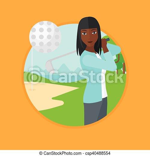 Golfista golpeando la ilustración vectorial de bola. - csp40488554