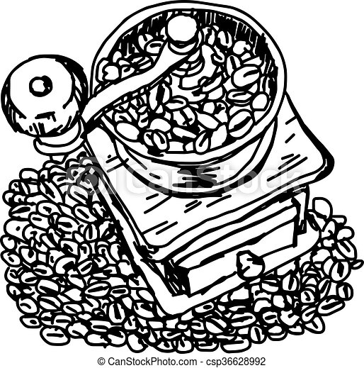 0d6231ebbdd illustration vector hand draw doodles of vintage coffee grinder on coffee  beans. - csp36628992