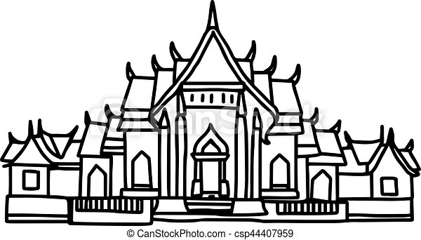 illustration vector hand drawn sketch of thai temple clipart rh canstockphoto com temple clipart png clipart temple lds