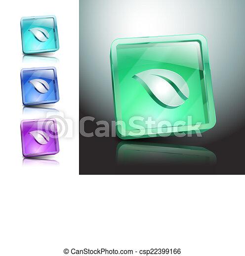 illustration vector Leaf icon glassy green - csp22399166