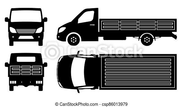 illustration, vue, camion, sommet, côté, dos, plat, vecteur, silhouette, devant - csp86013979