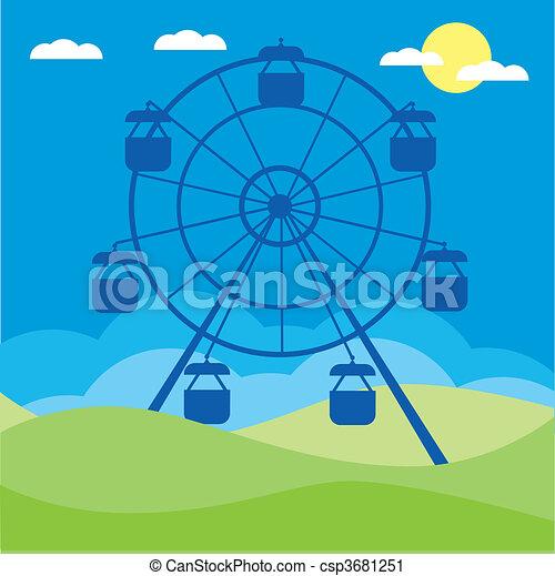 illustration., wektor, koło, ferris - csp3681251