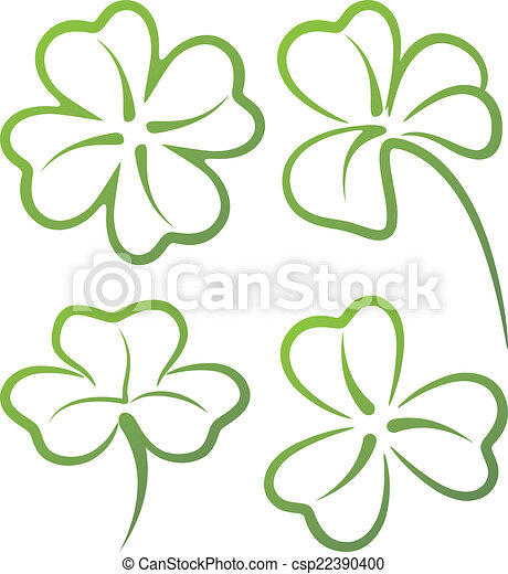 illustration with a set of clover leaves - csp22390400
