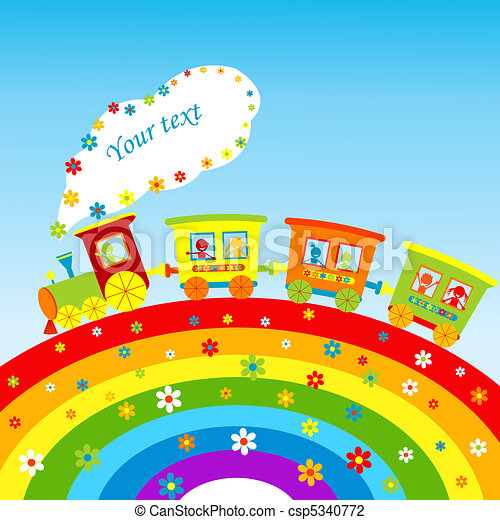 Illustration with cartoon train, rainbow and place for your text - csp5340772