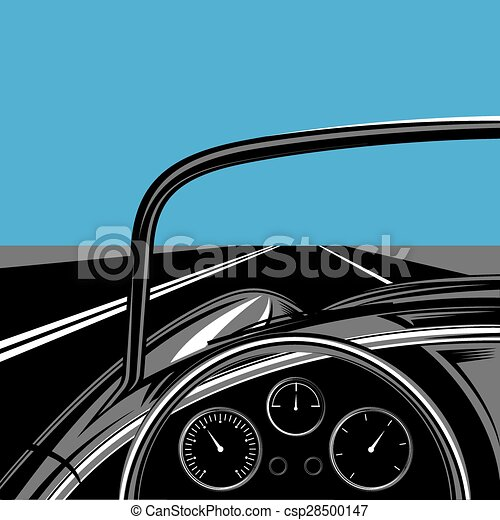 illustration with road, sky and traveling car - csp28500147