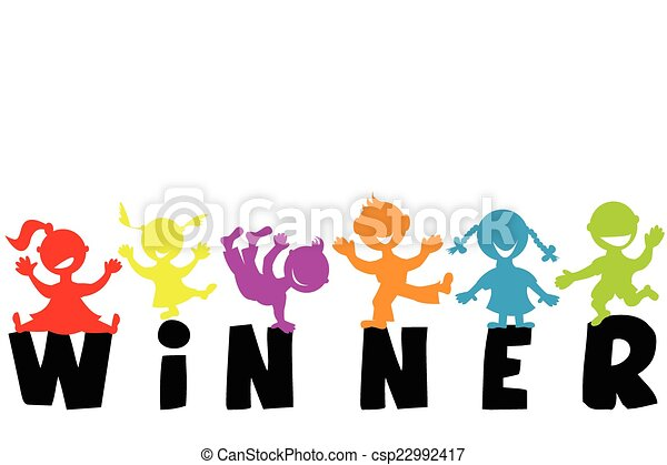 illustration with word winner and happy children silhouettes vector rh canstockphoto com winter clipart pictures winter clip art black and white