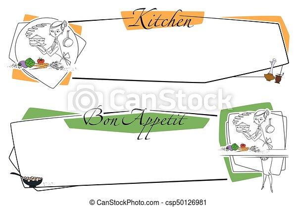 illustration., work., cozinhar, alimento., cozinheiro, estoque - csp50126981