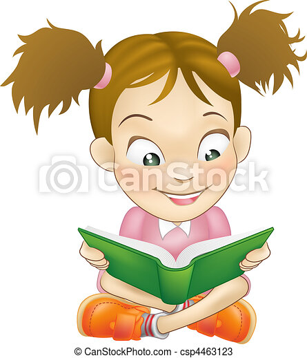 Illustration young girl reading book - csp4463123