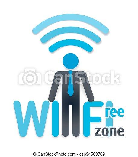 illustration., zone, symbole, wifi, gratuite, vecteur, white., icône, ombre, wi-fi, homme - csp34503769