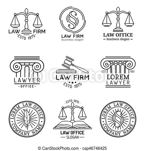 illustrations., ロゴ, 法律, 提唱者, 正義, オフィス, セット, スケール, 小槌, ベクトル, 弁護士, ラベル, 型, collection., ∥など∥ - csp46746425