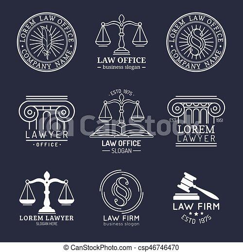 illustrations., ロゴ, 法律, 提唱者, 正義, オフィス, セット, スケール, 小槌, ベクトル, 弁護士, ラベル, 型, collection., ∥など∥ - csp46746470