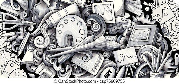 illustrations., banner., détaillé, griffonnage, dessiné, artiste, main, dessin animé - csp75609755