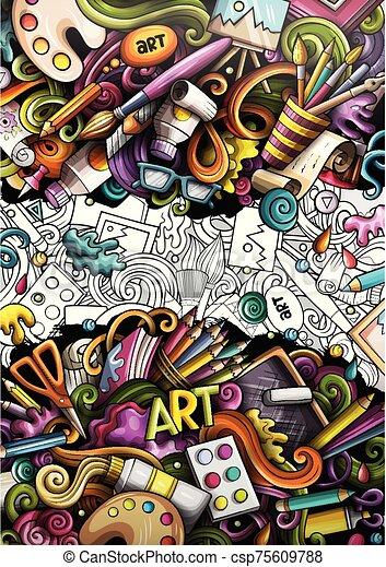 illustrations., banner., détaillé, griffonnage, dessiné, artiste, main, dessin animé - csp75609788