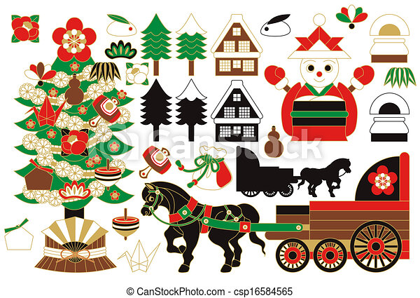 Clip Art Vector Of Illustrations Collections XMAS Japanese Style  - Japanese Christmas Tree
