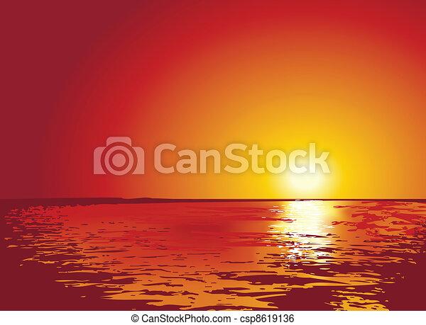 illustrations, coucher soleil, ou, levers de soleil, mer - csp8619136