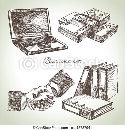 illustrations, dessiné, set., business, main - csp13737941