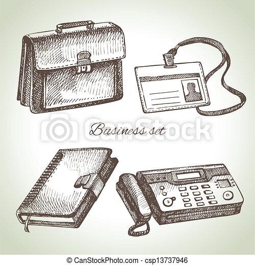 illustrations, dessiné, set., business, main - csp13737946