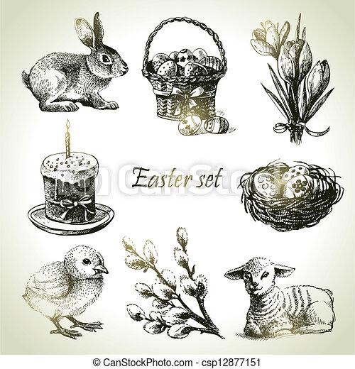 illustrations, dessiné, set., paques, main - csp12877151