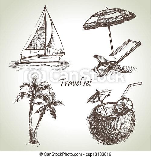 illustrations, dessiné, voyage, set., main - csp13133816