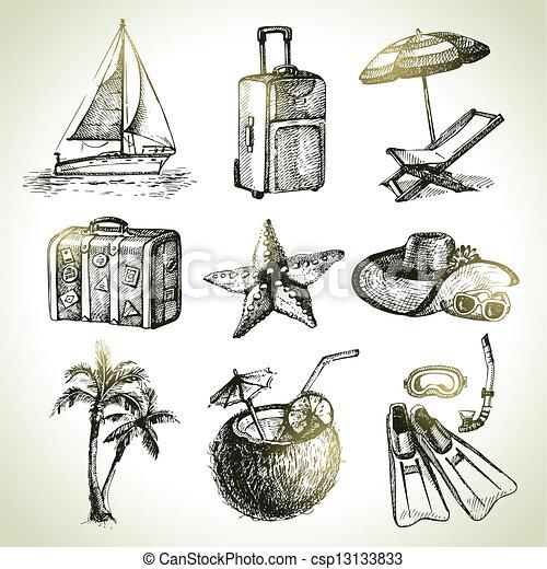 illustrations, dessiné, voyage, set., main - csp13133833