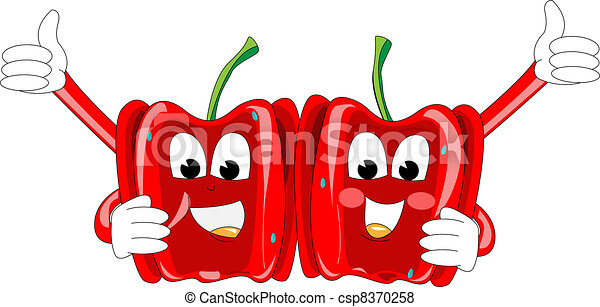 Illustrations of two funny red papr - csp8370258