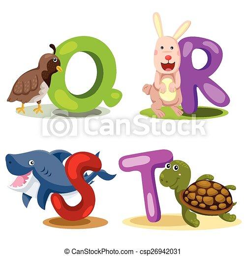 Illustrator alphabet animal LETTER  - csp26942031