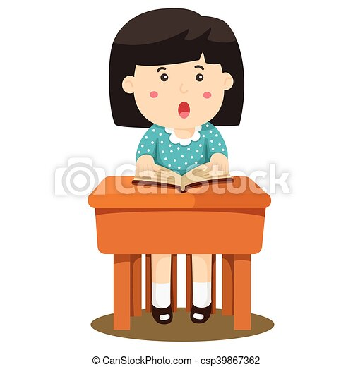 illustrator of girl two studying in classroom clip art vector rh canstockphoto co uk Person Studying Clip Art Person Studying Clip Art