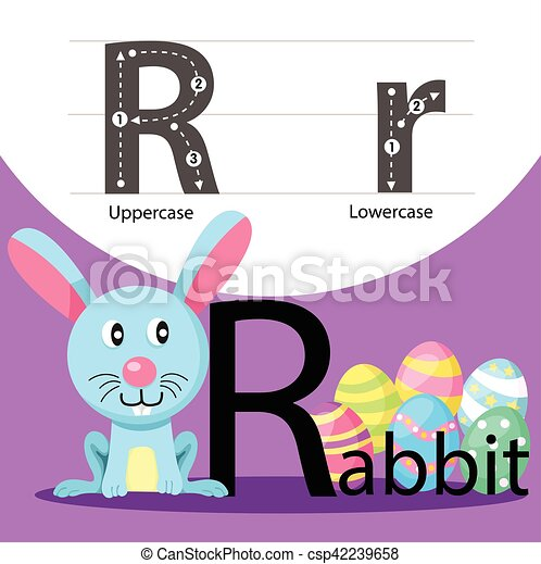 Illustrator of rabbit with r font - csp42239658