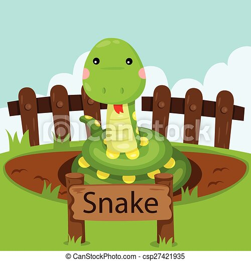 Illustrator of Snake in the zoo - csp27421935