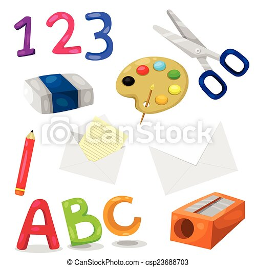 illustrator of stationery for school set vector clipart search rh canstockphoto com