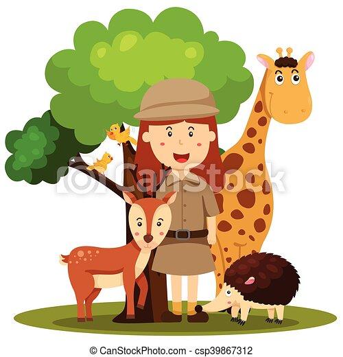 illustrator of zoo keeper women