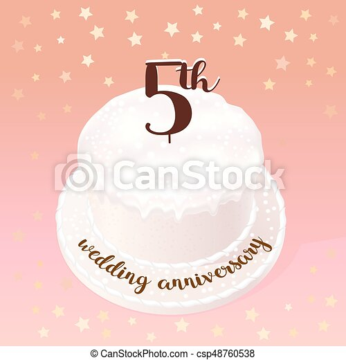 Anniversario Matrimonio 5 Anni.Illustrazione Anni Vettore Matrimonio Matrimonio Icona 5 O