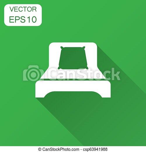 illustrazione, appartamento, affari, rilassare, divano, concept., lungo, style., vettore, sonno, letto, camera letto, shadow., icona - csp63941988