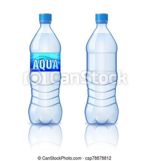 illustrazione, bottiglia, realistico, vettore, plastica, minerale, sfondo bianco, acqua, isolato - csp78878812