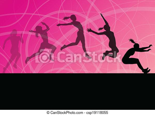 illustrazione, donna, triplo, atletico, volare, salto lungo, silhouette, vettore, collezione, fondo, attivo, ragazza, sport - csp19118055