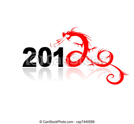illustrazione, drago, disegno, anno, tuo, 2012 - csp7440589