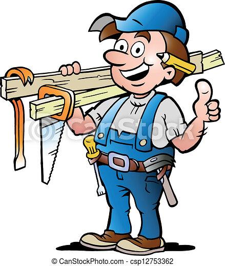 illustrazione, felice, carpentiere - csp12753362