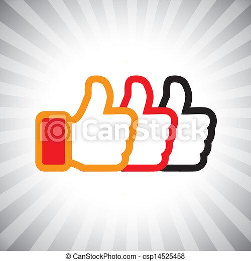 illustrazione, media, concetto, come, su, graphic-, set., sociale, tre, icons(symbol), mano, arancia, colori, vettore, nero, pollici, segni, rosso, mostra - csp14525458