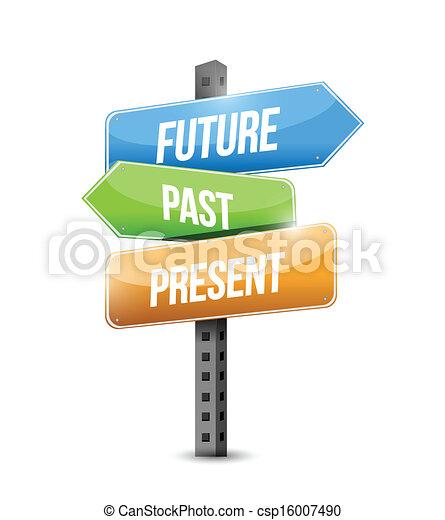 illustrazione, segno, passato, futuro, disegno, presente - csp16007490