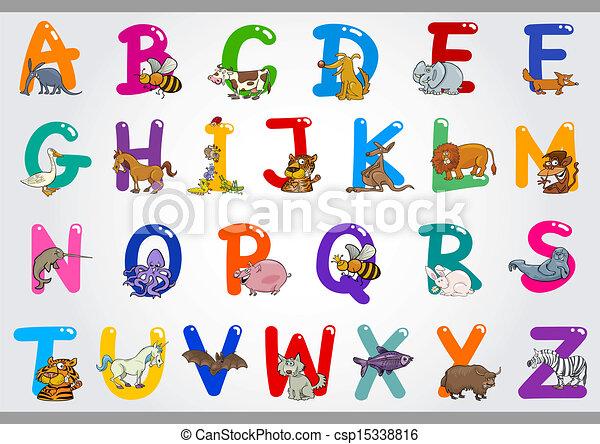 illustrazioni, alfabeto, animali, cartone animato - csp15338816