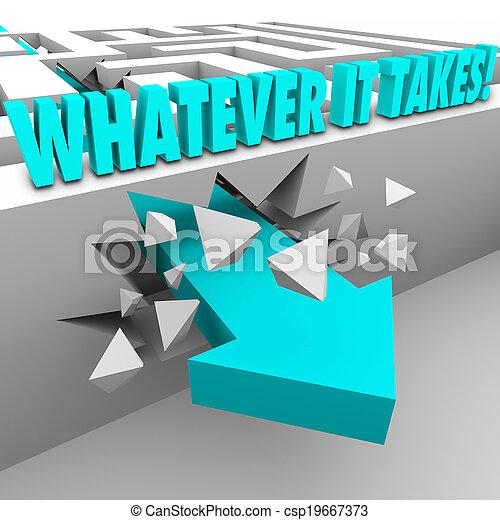 illustrer, mur, il, quoi, par, mesure, besoin, ton, prend, rupture, n'importe quel, autre, prendre, au-dessus, labyrinthe, réaliser, portée, mots, but, carrière, défi, liberté, flèche, vie, ou - csp19667373