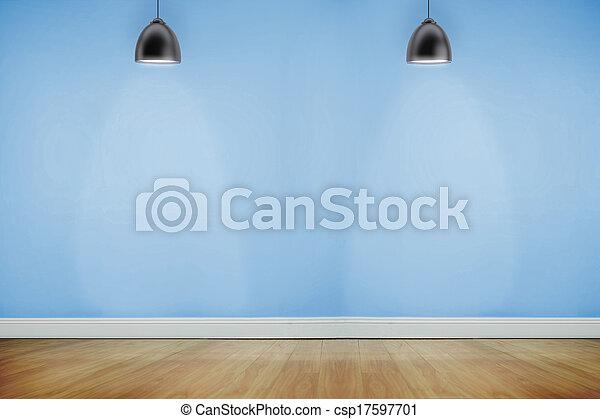 iluminado, madeira, sala, holofotes, chão - csp17597701