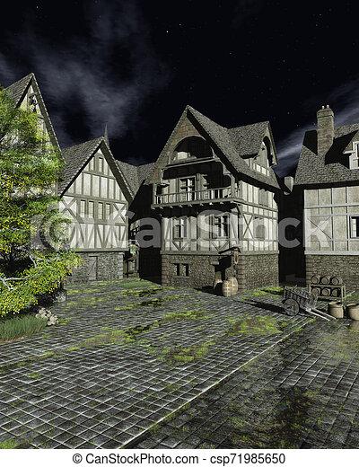 Mediaeval Street en una noche de luna brillante - csp71985650