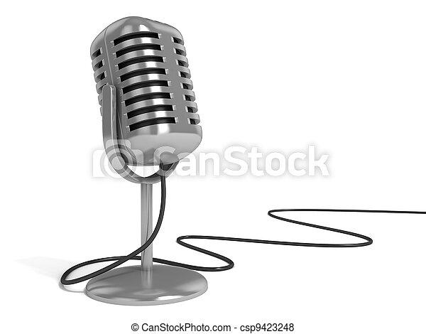 ilustração, 3d, microfone - csp9423248
