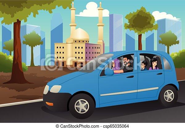 ilustração, car, muçulmano, dirigindo, família - csp65035064