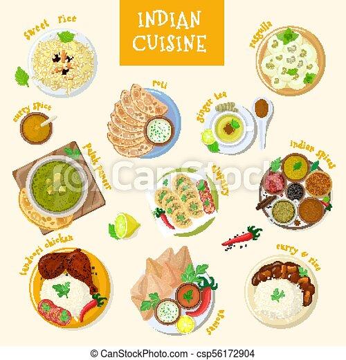 ilustração, cozinha, jogo, fundo, pratos, alimento, tigela, naan, branca, índia, isolado, ásia, refeição, indianas, vetorial, asiático, temperado, masala, galinha, arroz, tandoori - csp56172904