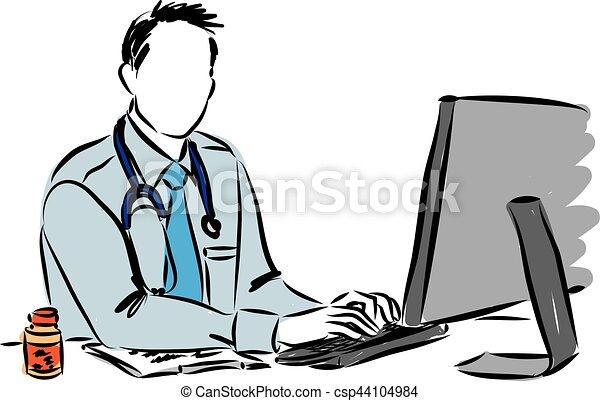 ilustração, doutor, computador, trabalhando - csp44104984